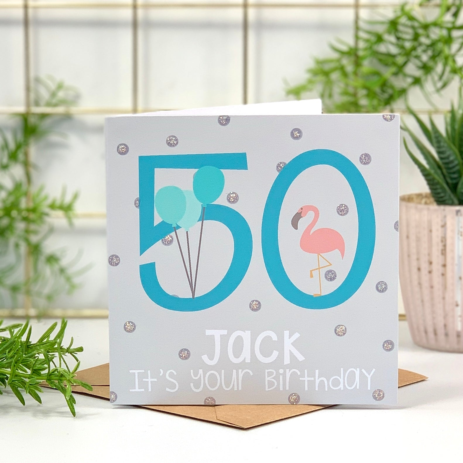 50th Flamingo Blue Birthday Card