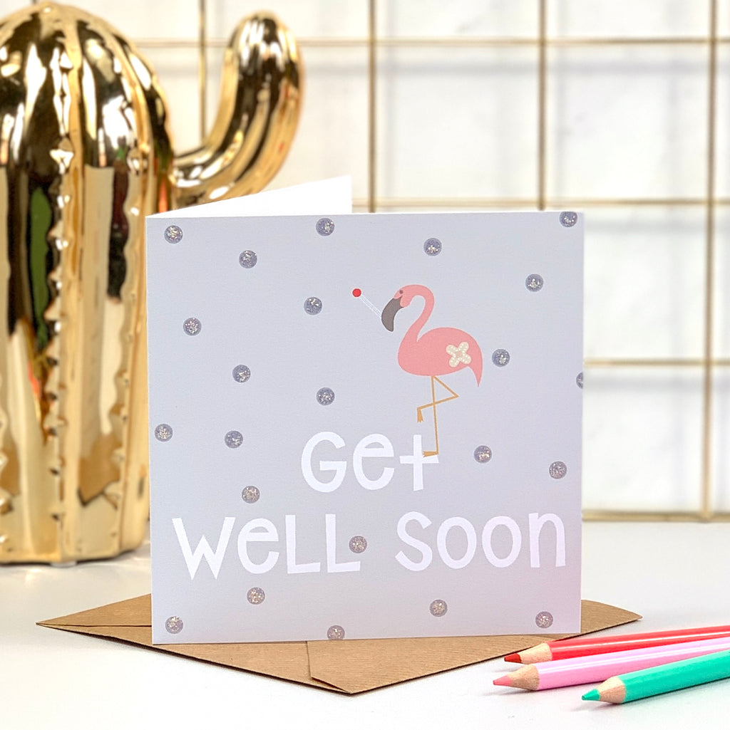 Get Well Soon Flamingo Card