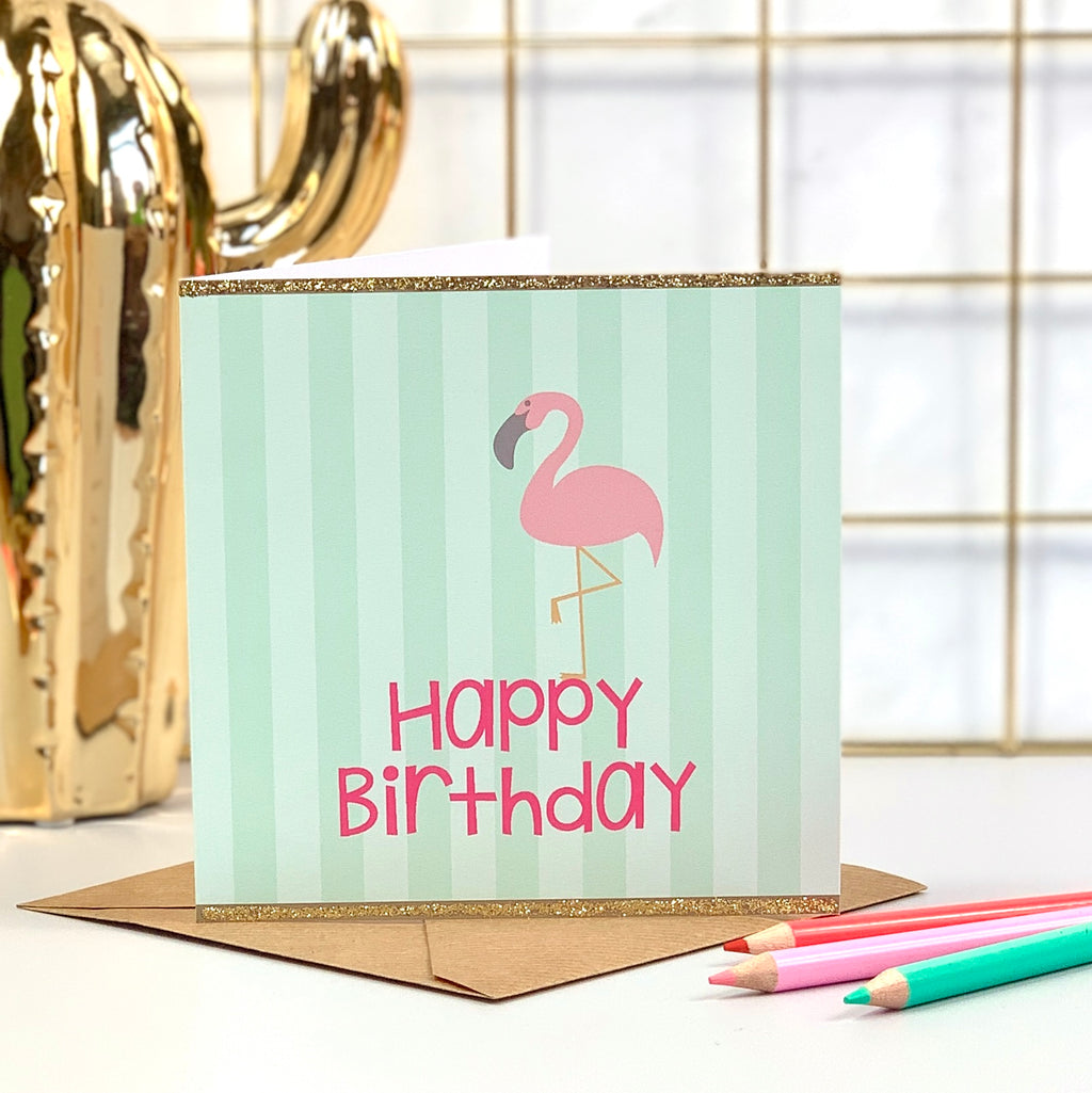 Green Striped Flamingo Birthday Card