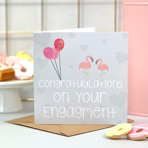 Engagement Balloon Flamingo Card