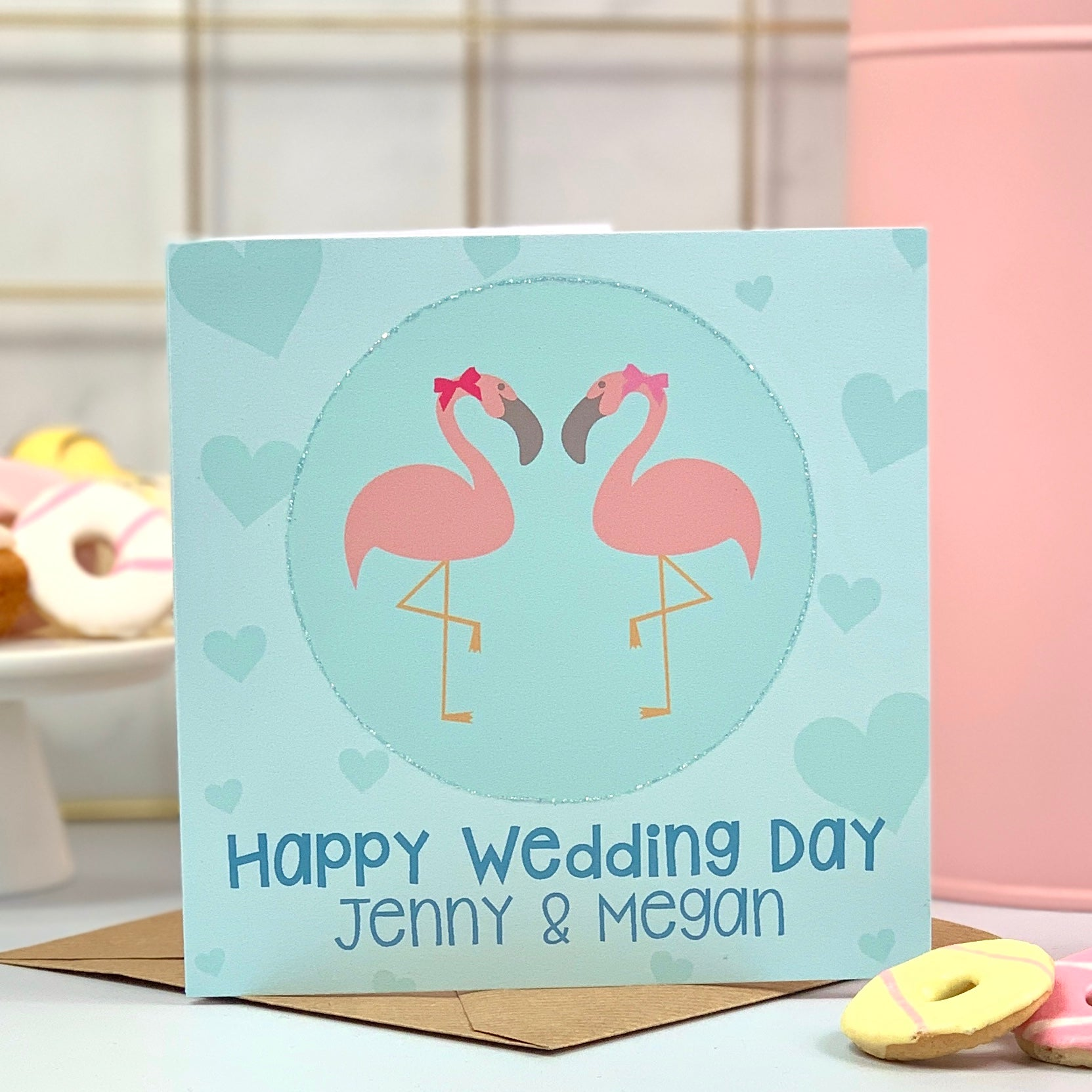 Happy Wedding Day Mrs and Mrs Flamingo Card