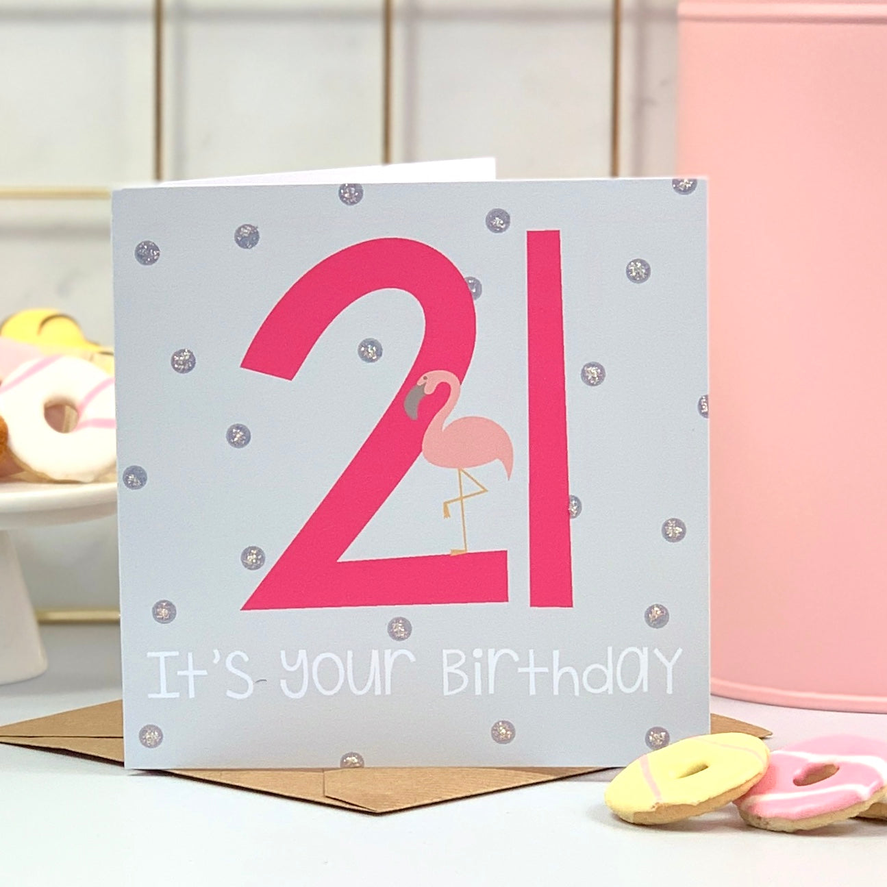 21st Flamingo Hot Pink Birthday Card