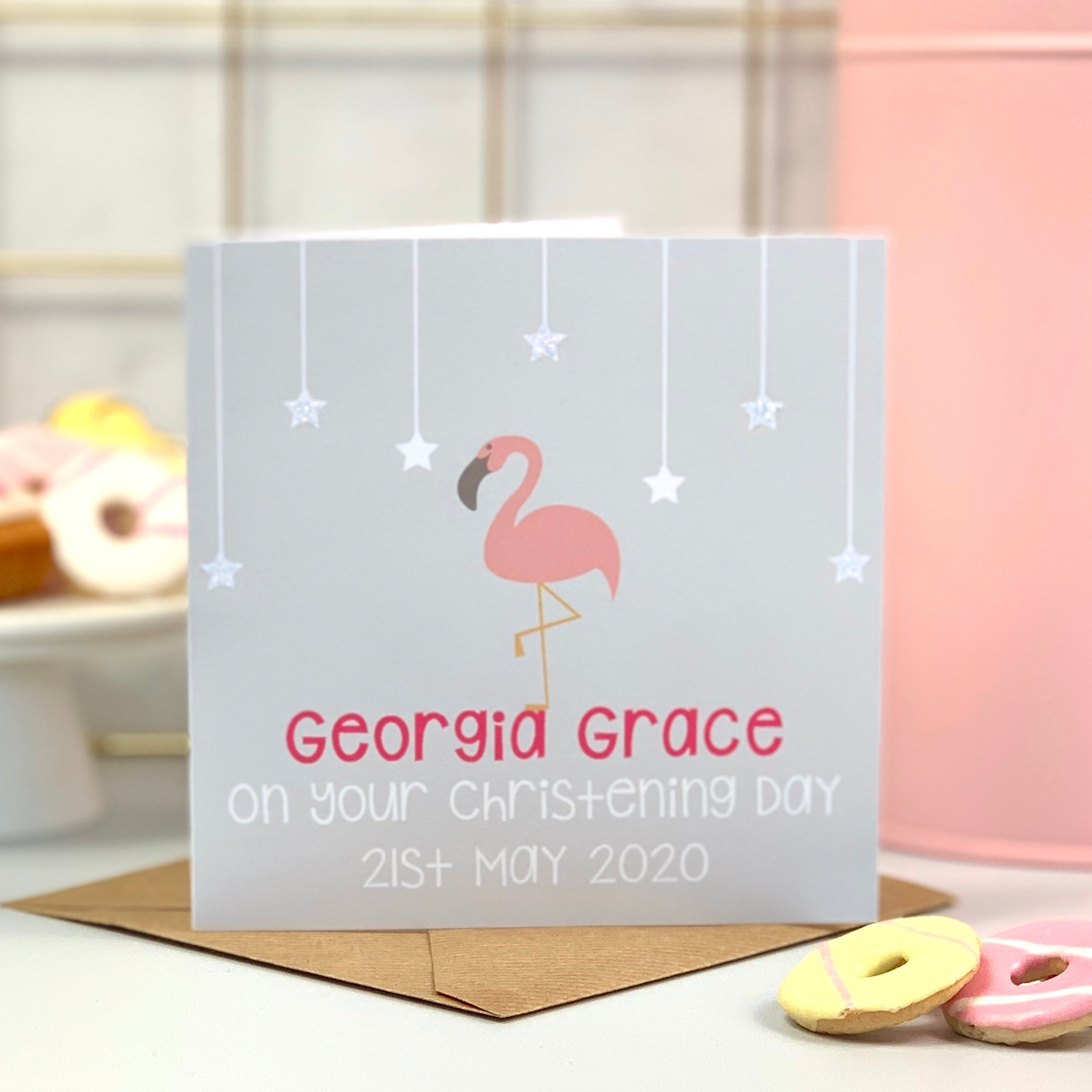 Flamingo Christening Day Card