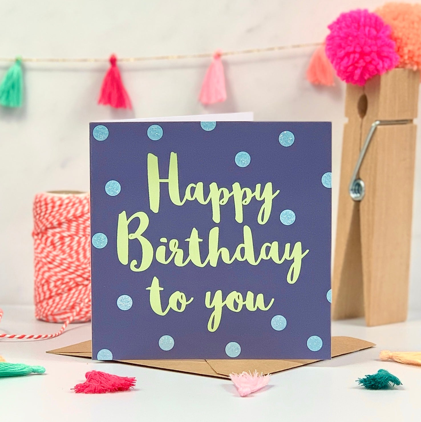 Happy Birthday Blue and Green Spots Card
