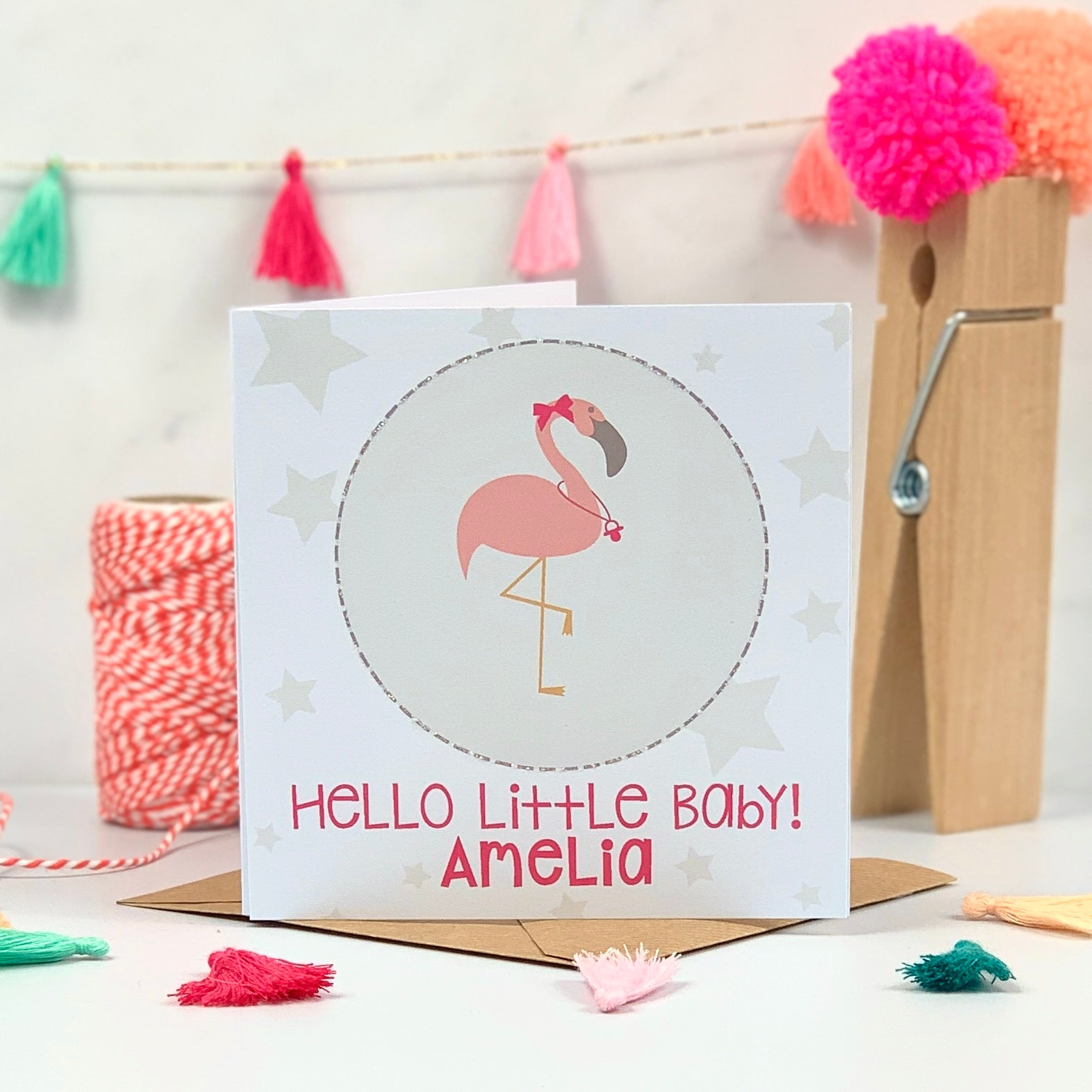 Pink New Baby Flamingo Card