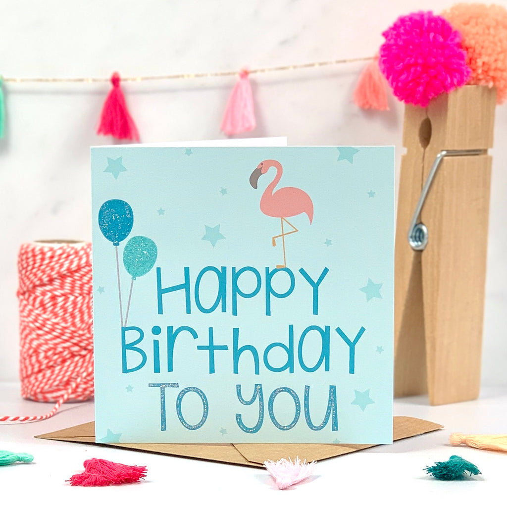 Happy Birthday To You Flamingo Card