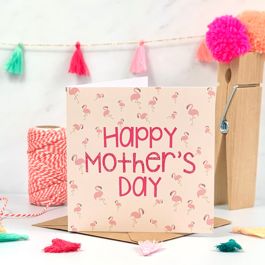 Mother's Day Coral Flamingo Card