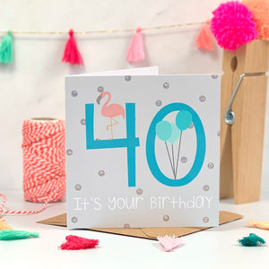40th Flamingo Blue Birthday Card