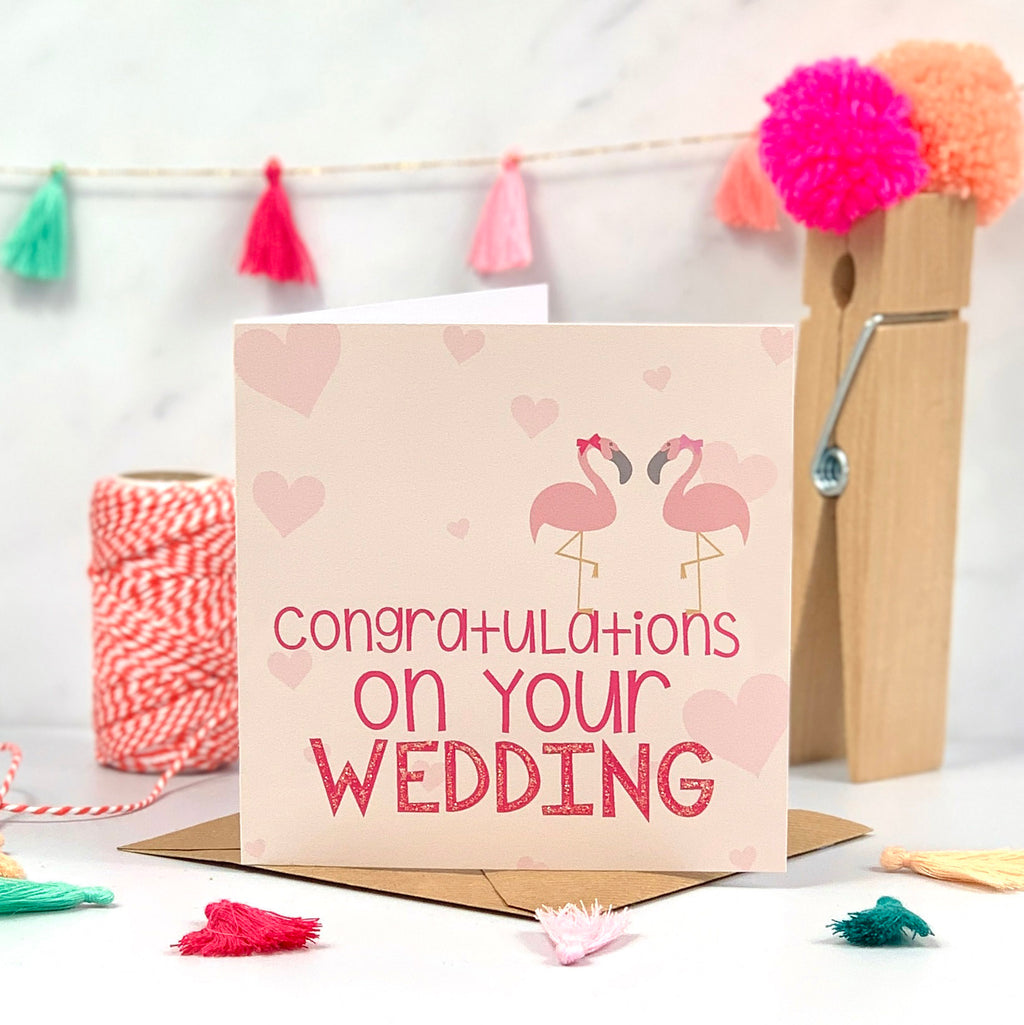 Coral and Pink Mrs and Mrs Flamingo Wedding Card