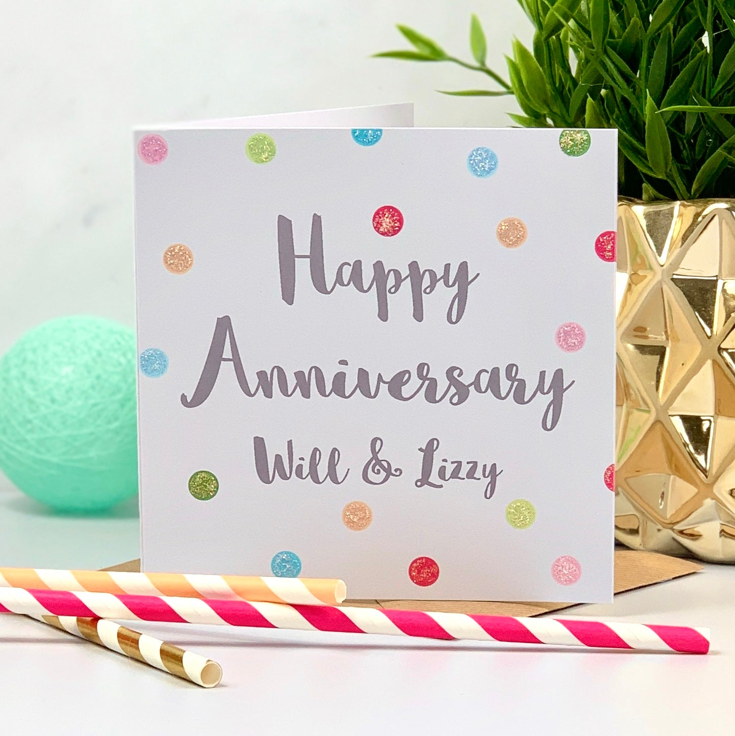 Happy Anniversary Spot Glitter Card