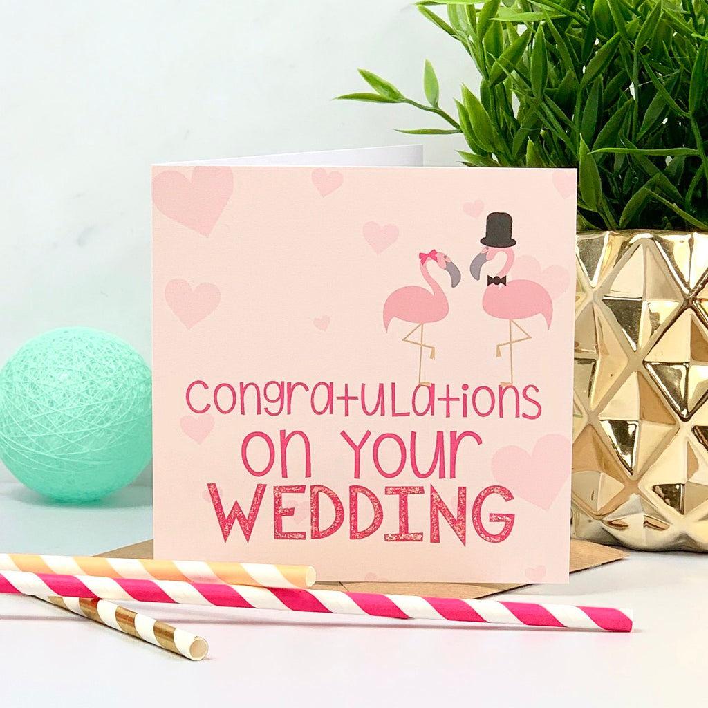 Coral and Pink Mr and Mrs Flamingo Wedding Card