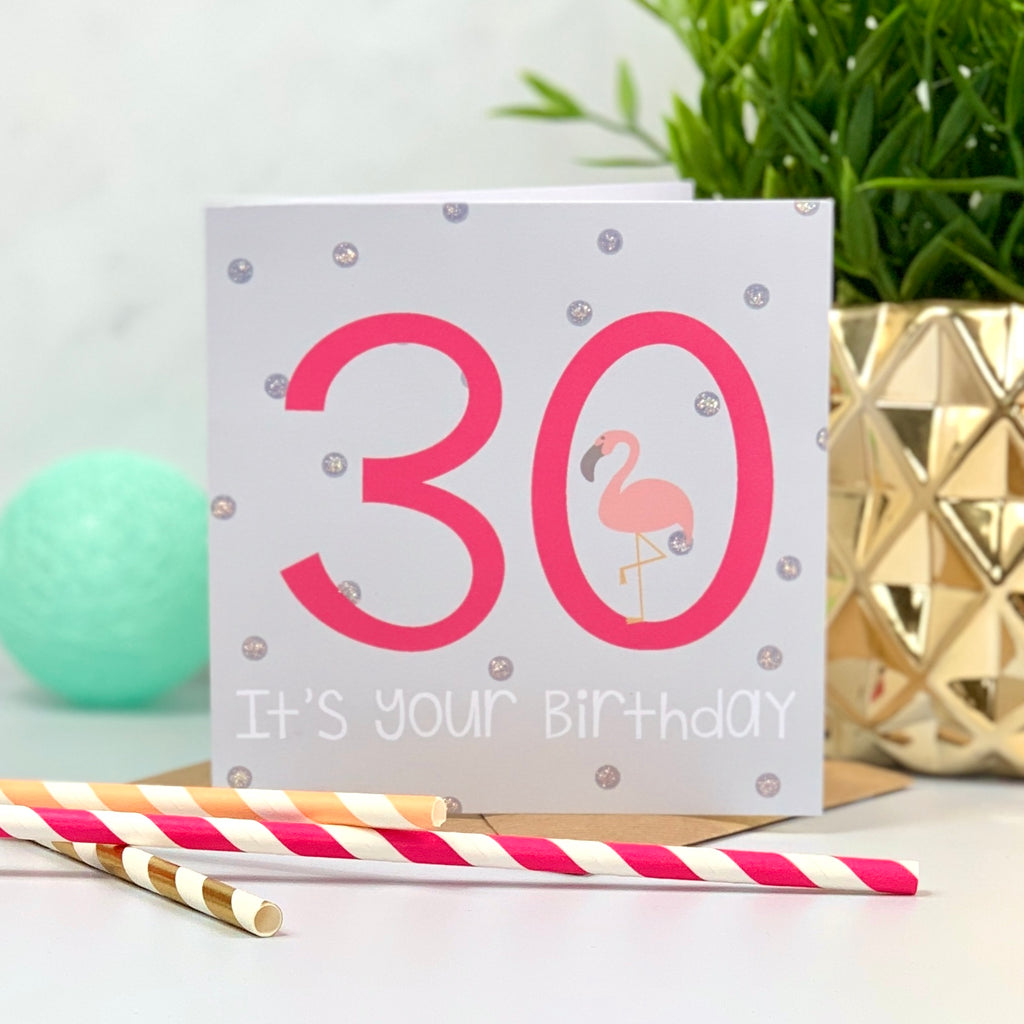 30th Flamingo Hot Pink Birthday Card