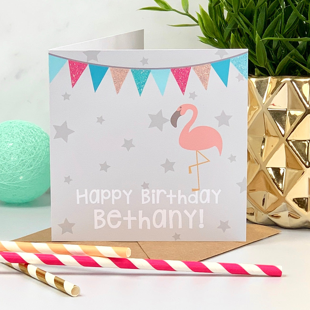 Bunting Glitter Flamingo Birthday Card