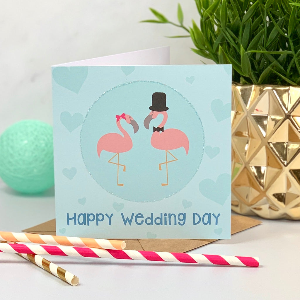 Happy Wedding Day Mr & Mrs Flamingo Card