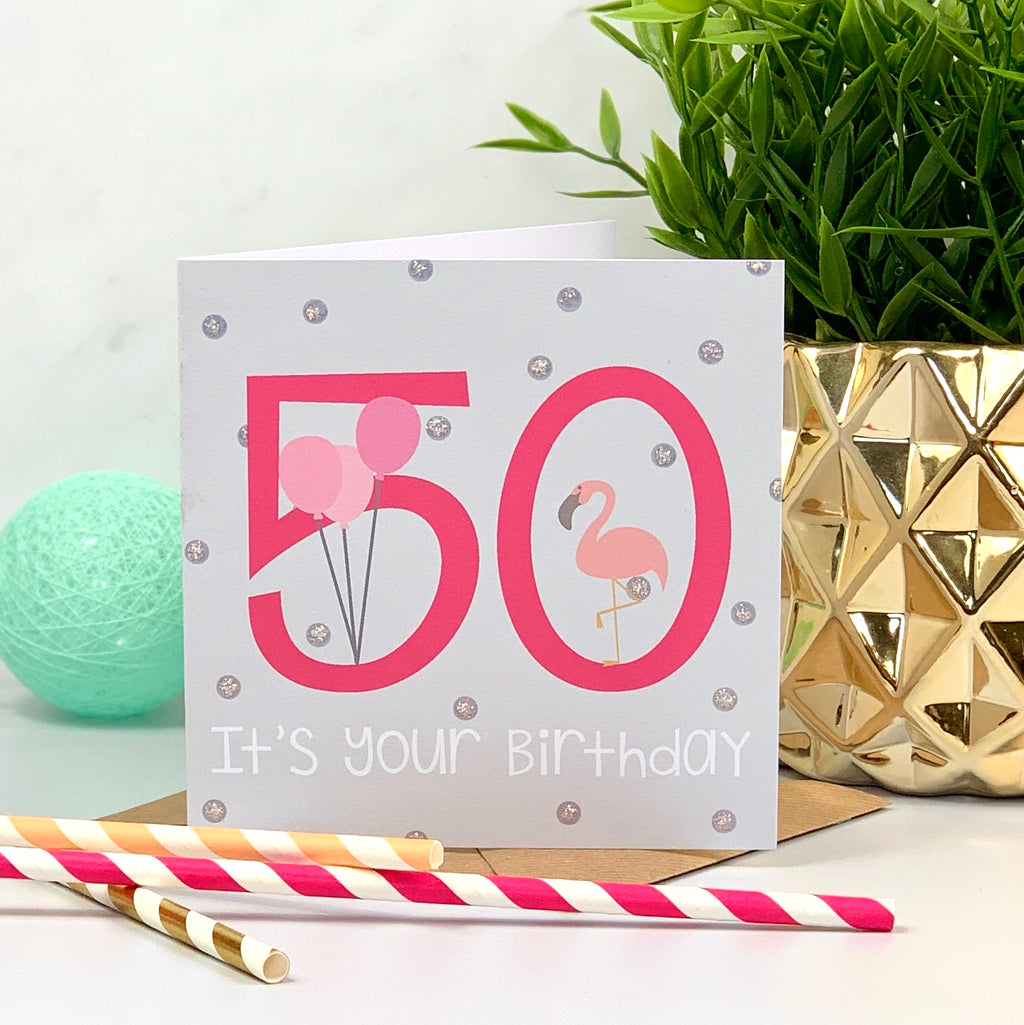 50th Flamingo Hot Pink Birthday Card