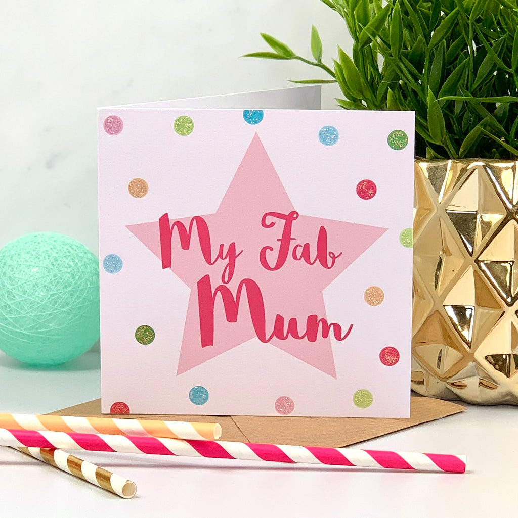 Mother's Day Pink Glitter Spots Card
