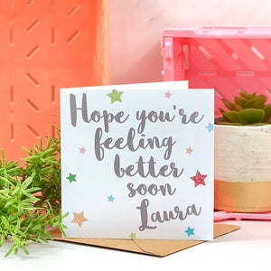 Get Well Soon Glitter Star Card