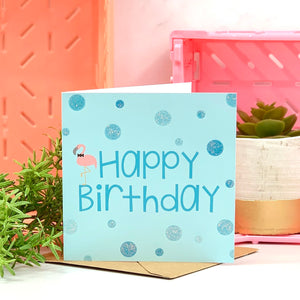 Blue Happy Birthday Flamingo Card
