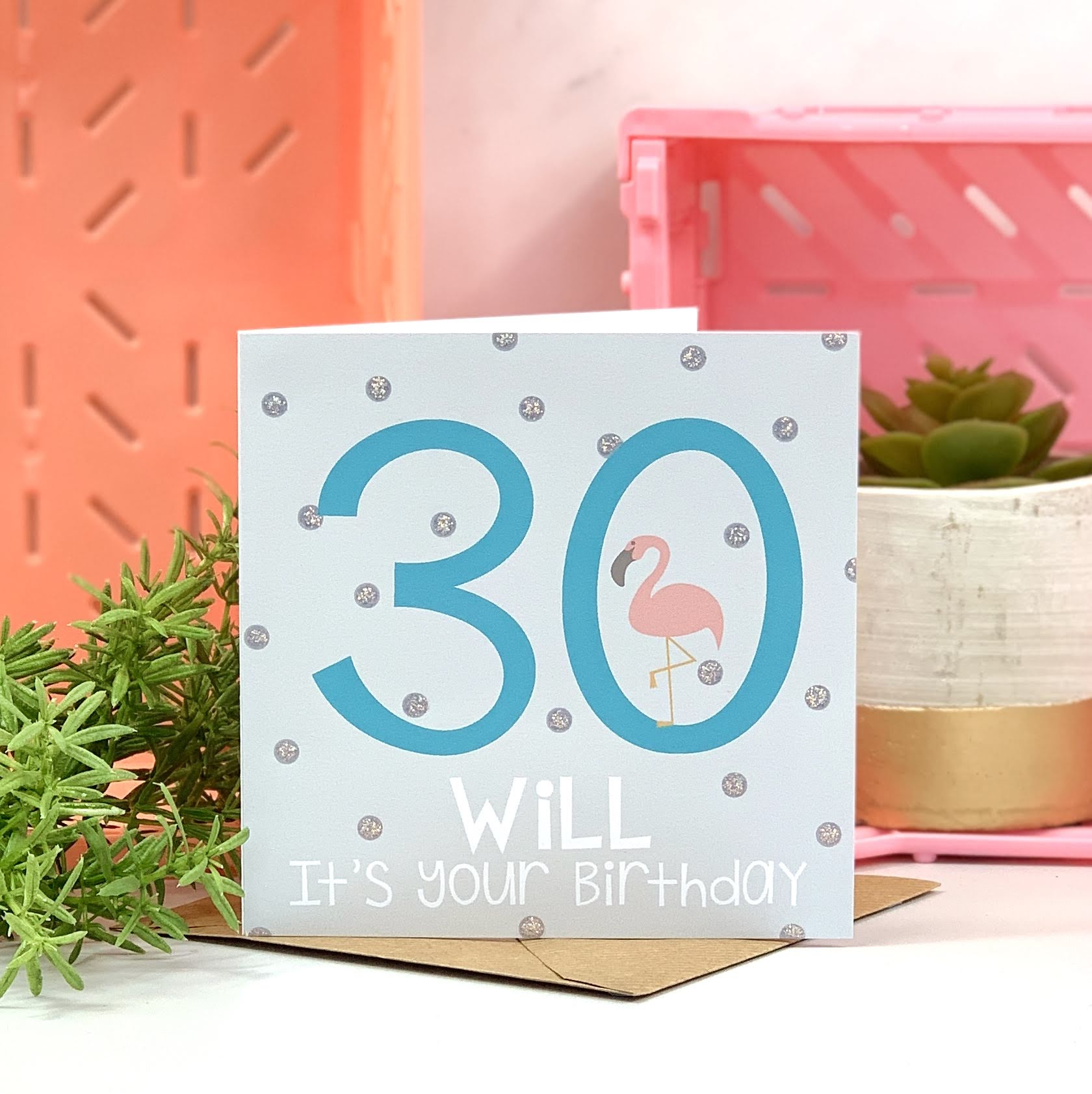 30th Flamingo Blue Birthday Card