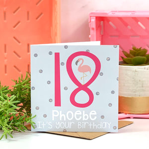 18th Flamingo Hot Pink Birthday Card