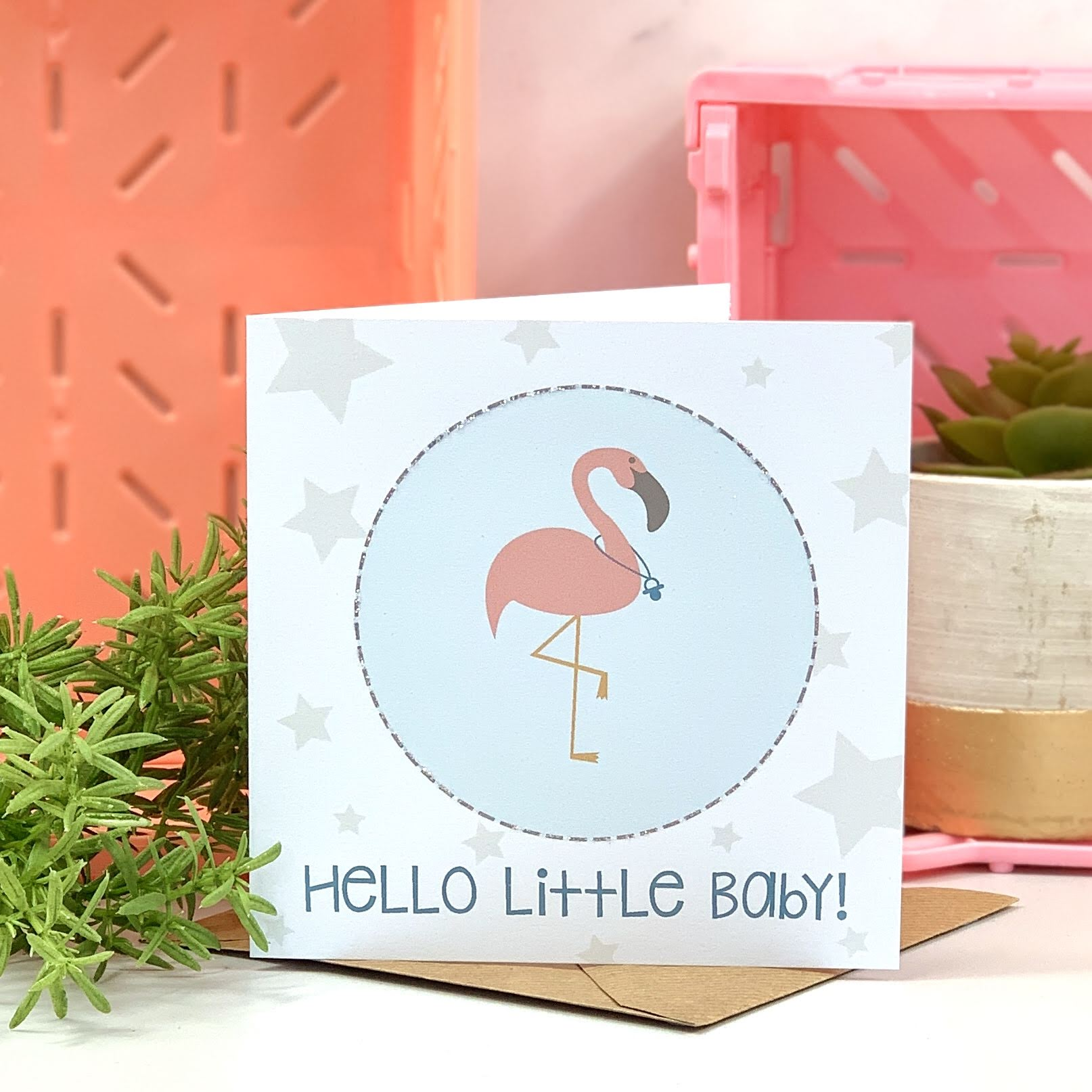 Blue New Baby Flamingo Card