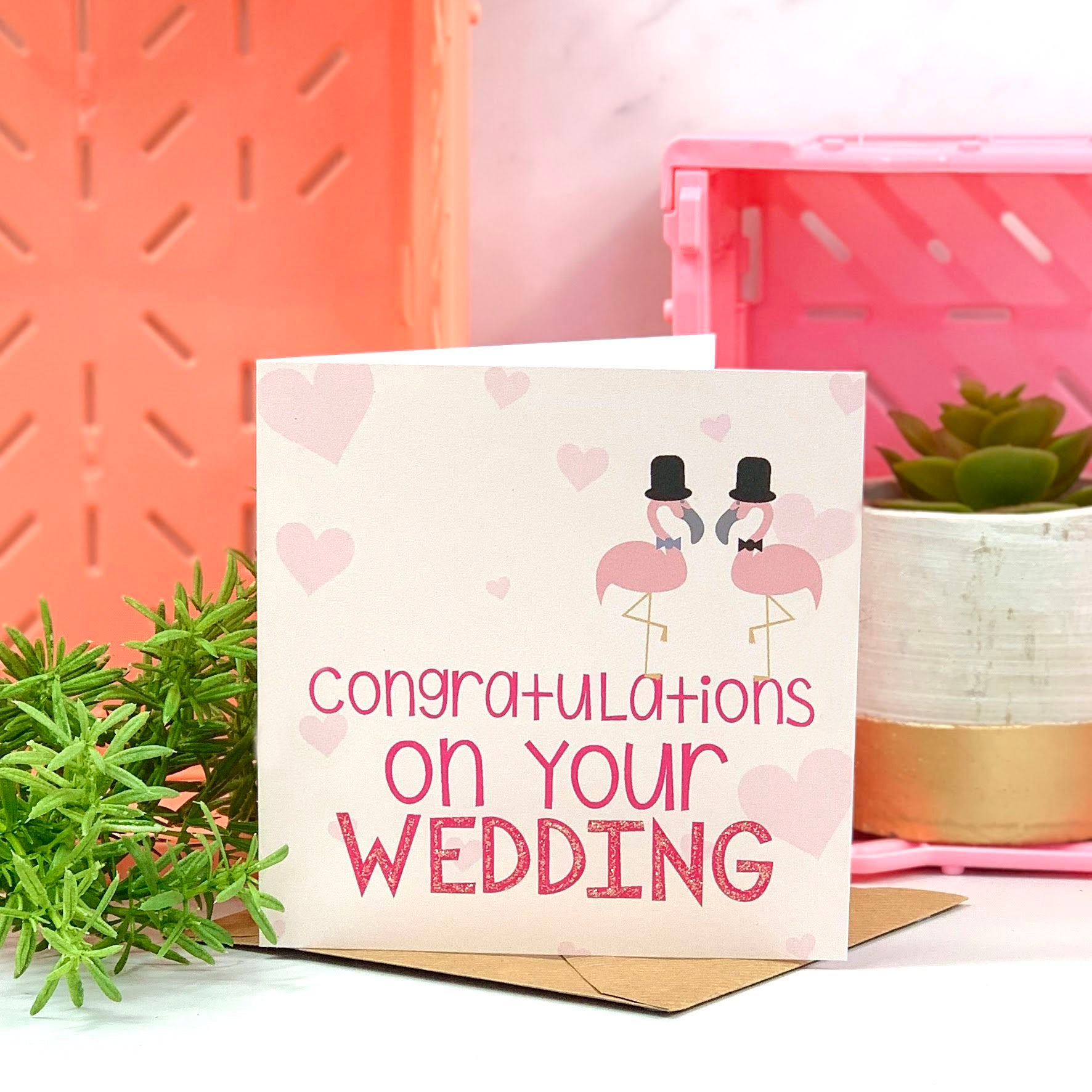Coral and Pink Mr and Mr Flamingo Wedding Card