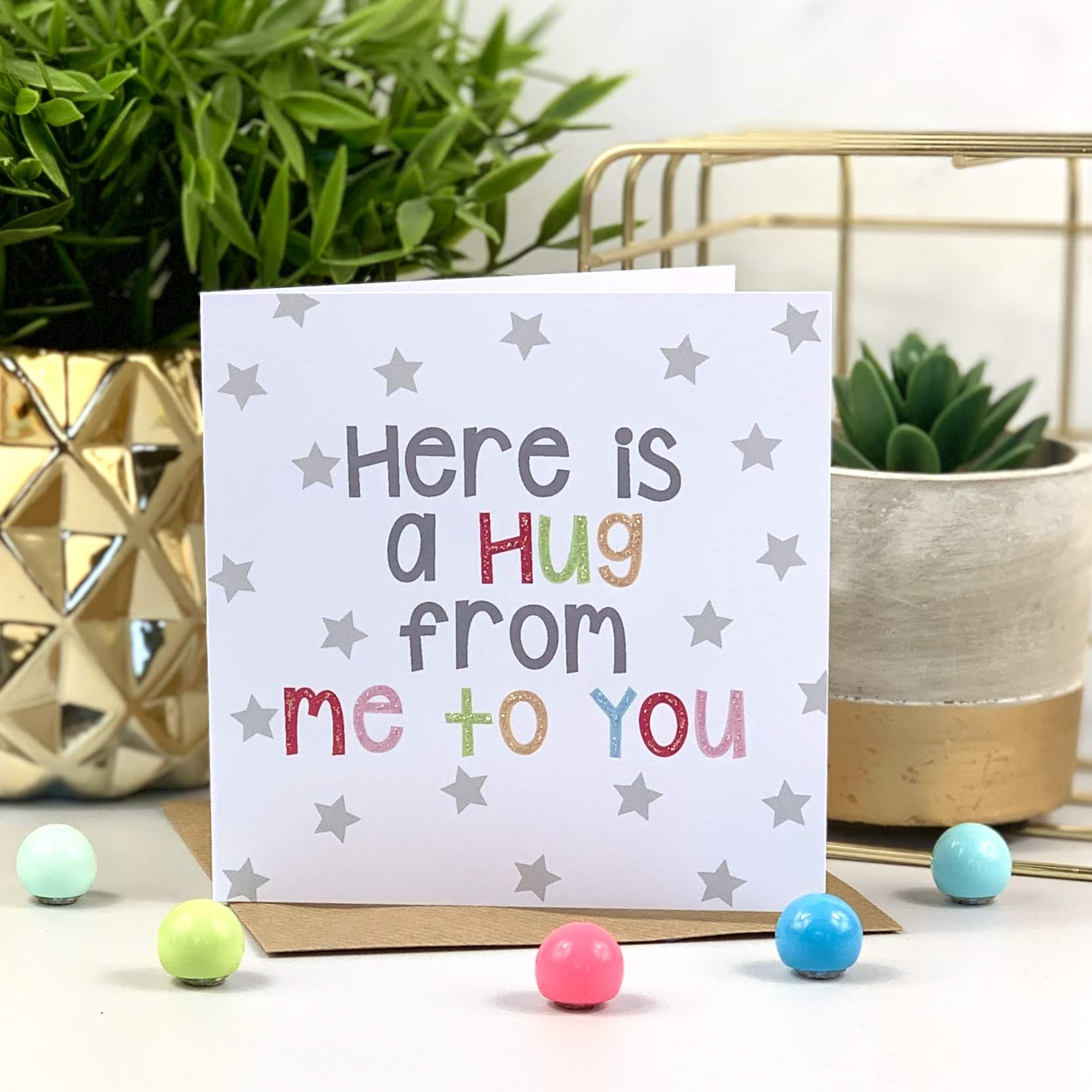 Here Is A Hug Bright Card