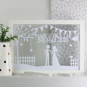 Wedding / Anniversary Bunting Personalised Cut Out Frame