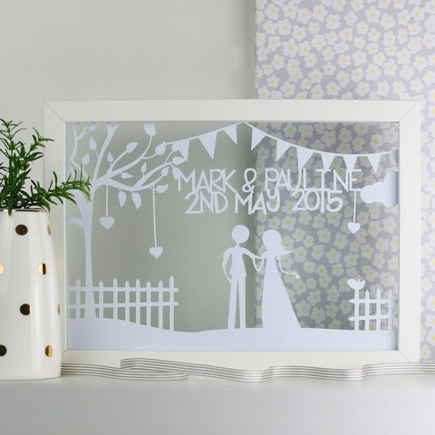 Wedding/Anniversary Bunting Personalised Cut Out Frame