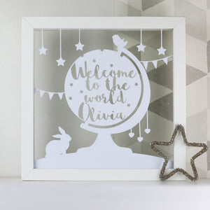 Welcome To The World Personalised Globe Cut Out