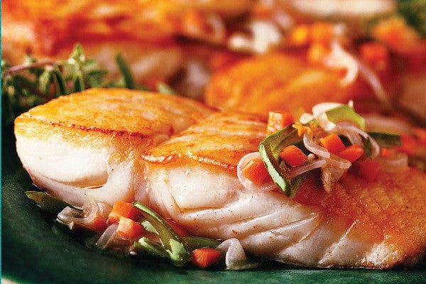 Halibut: Frozen Wild Pacific Halibut Steaks: 10 pound Case $29.99 per pound*