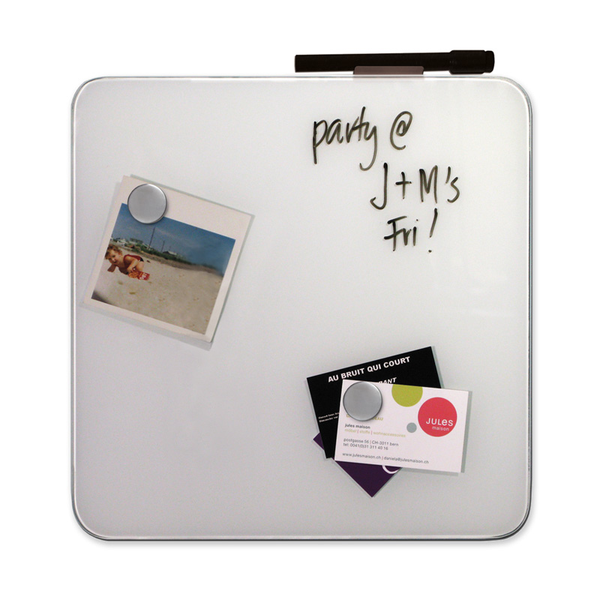 "12"" Magnetic Glass Dry-Erase Square Board - White"
