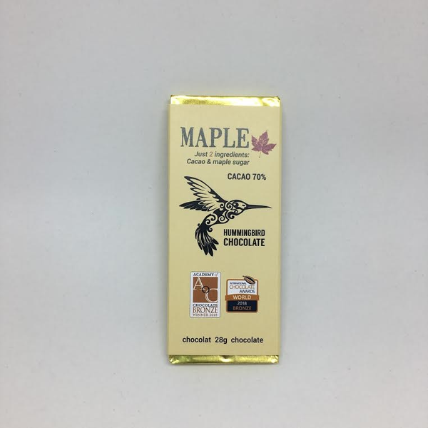 Hummingbird Chocolate Maple 70% - 28g Bar