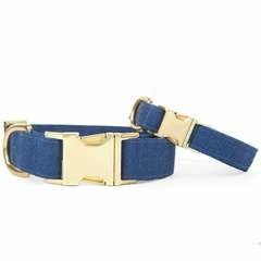 Denim Dog Collar - Medium / Gold