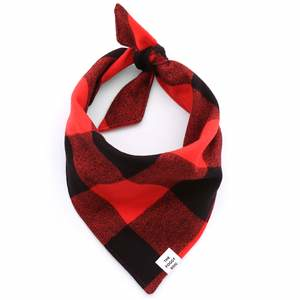 Red and Black Check Flannel Dog Bandana - Small