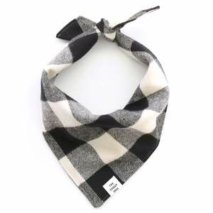 Black and White Check Flannel Bandana - Medium