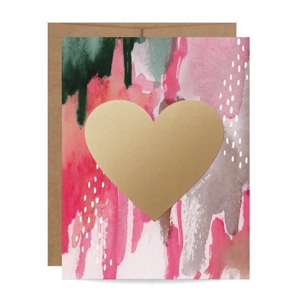 Watercolour Heart Scratch-off Card