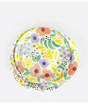 SPRING ABSTRACT PAPER PLATES