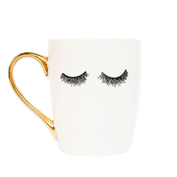 Eyelashes Gold Coffee Mug (white)