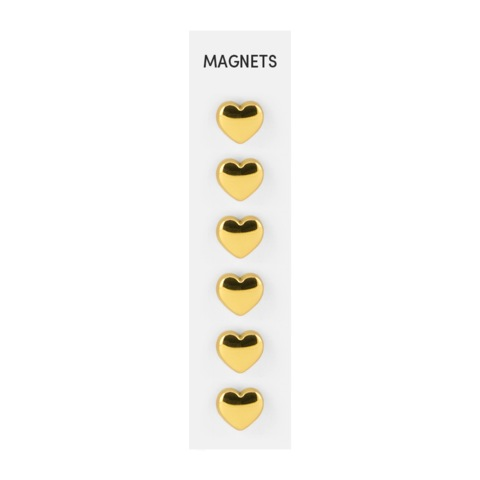 Flat Cast HEART Gold Magnets - Set of 6