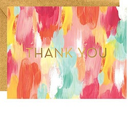 Brushstroke Foil Thank You Boxed Cards