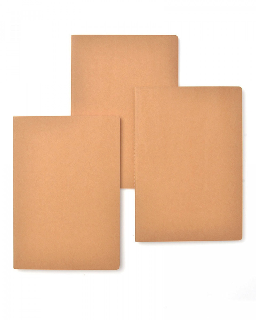 KRAFT WITH BRIGHT INNER COVERS JOURNAL SET of 3