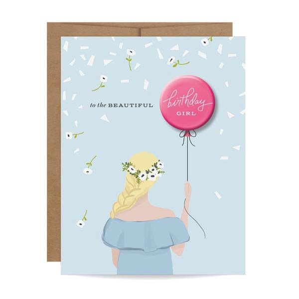 Birthday Girl Button Card - Blonde