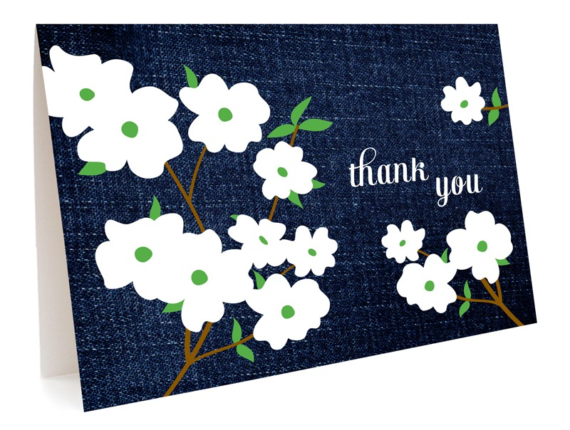 Denim Dogwood Thank You - Boxed Cards