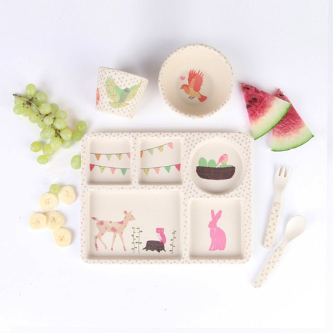 Bamboo 5pc Set - Woodland Tea Party