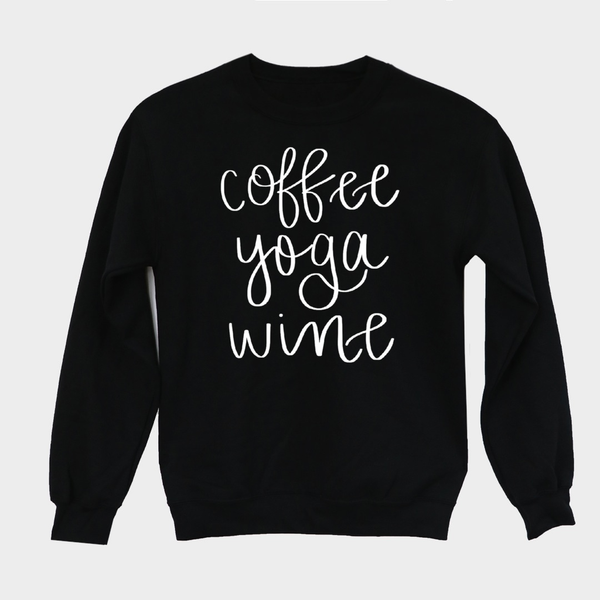 Coffee Yoga Wine Sweatshirt - Medium / Black