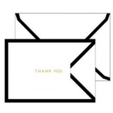 White/Black Border Tri-Fold Thank You Cards