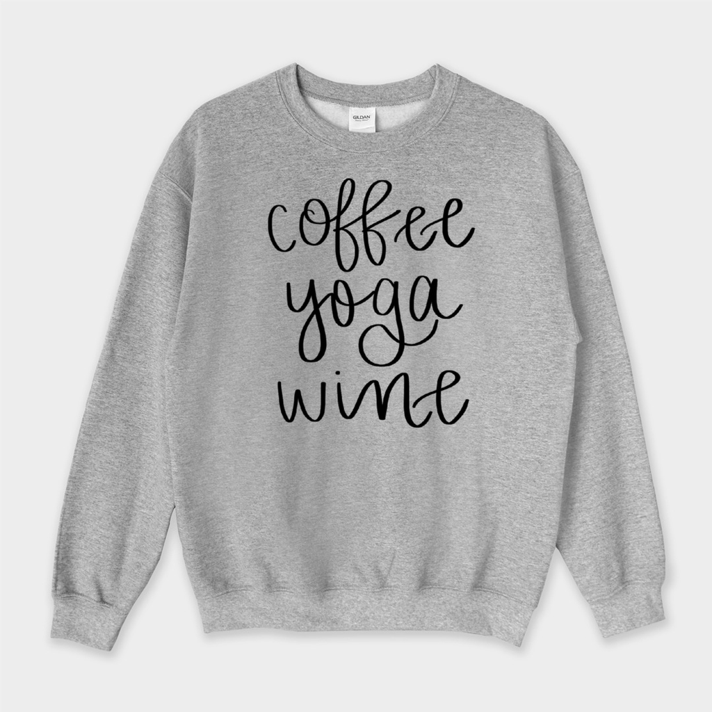 Coffee Yoga Wine Sweatshirt - Medium / H.Gray