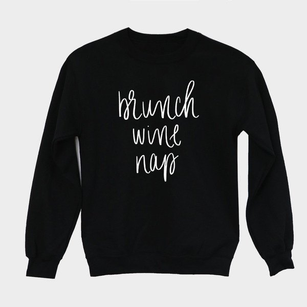 Brunch Wine Nap Sweatshirt - Large / Black