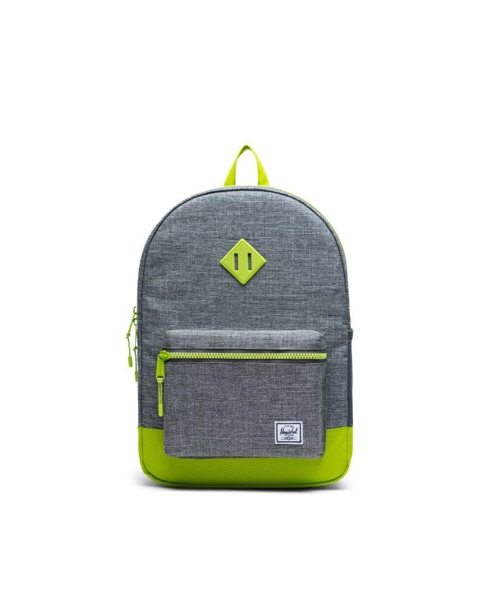 Heritage Backpack | XL Youth - Raven Crosshatch/Lime Green